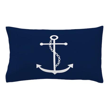 Navy Blue Anchor Pillow Case