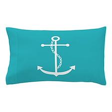 Teal Anchor Pillow Case