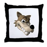 Funny Wolf Face Throw Pillow