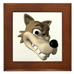 Funny Wolf Face Framed Tile