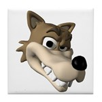 Funny Wolf Face Tile Coaster