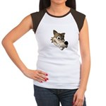 Funny Wolf Face Women's Cap Sleeve T-Shirt
