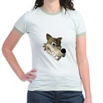 Funny Wolf Face Jr. Ringer T-Shirt