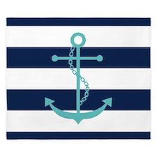 Teal Anchor on Blue Stripes King Duvet