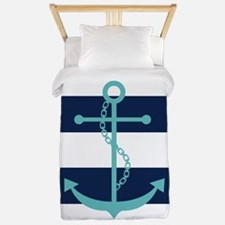 Teal Anchor on Blue Stripes Twin Duvet