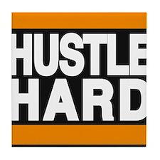 hustle hard orange Tile Coaster