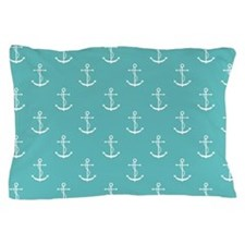 Teal Anchors Pattern Pillow Case