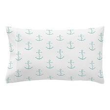 White Mint Anchors Pillow Case