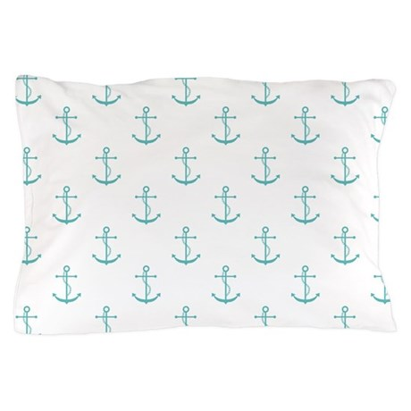 White Teal Anchors Pillow Case