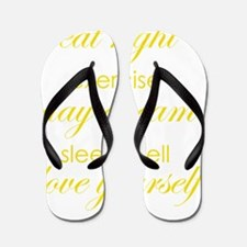 eat right exercise yellow Flip Flops
