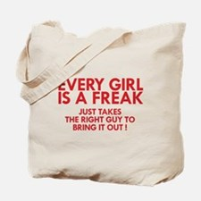 every girl is a freak red Tote Bag