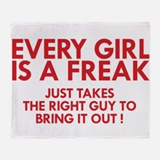 every girl is a freak red Throw Blanket