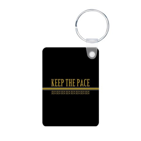 Running Keep the Pace Aluminum Photo Keychain