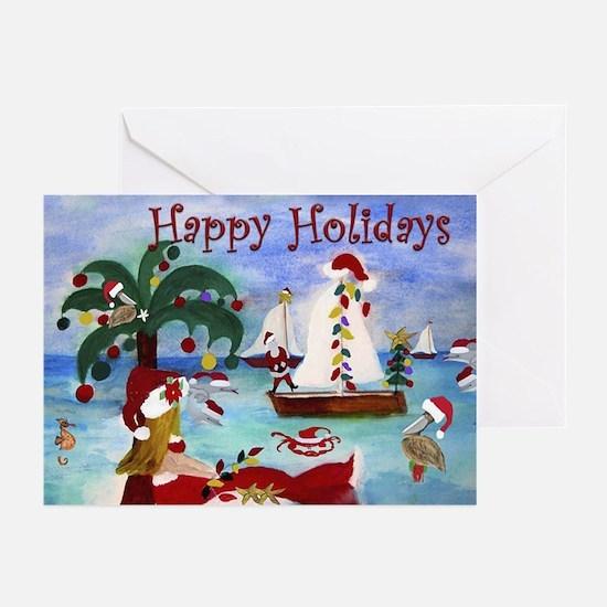 Coastal Boat Parade Holiday Cards Greeting Cards