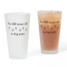 80 birthday dog years 4-1 Drinking Glass