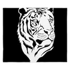 Black and white tiger King Duvet