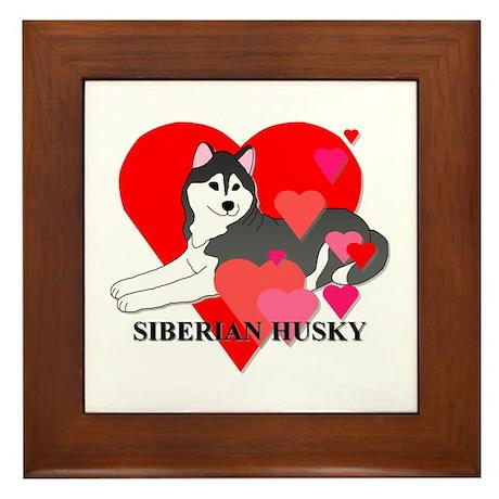 Black Siberian Husky Framed Tile