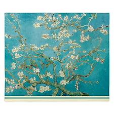 Van Gogh Almond tree flowers - Blue King Duvet