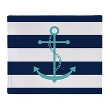 Teal Anchor on Blue Stripes Throw Blanket
