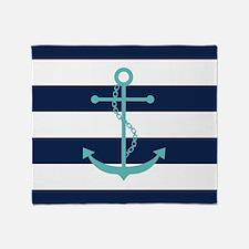 Teal Anchor on Blue Stripes Throw Blanket