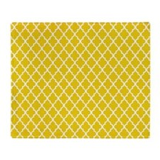 Yellow Quatrefoil Pattern Throw Blanket
