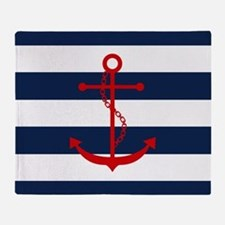 Red Anchor on Blue Stripes Throw Blanket
