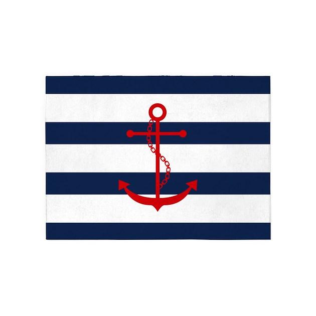 Red Anchor On Blue Stripes 5 X7 Area Rug By Mcornwallshop