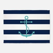 Teal Anchor on Blue Stripes 5'x7'Area Rug