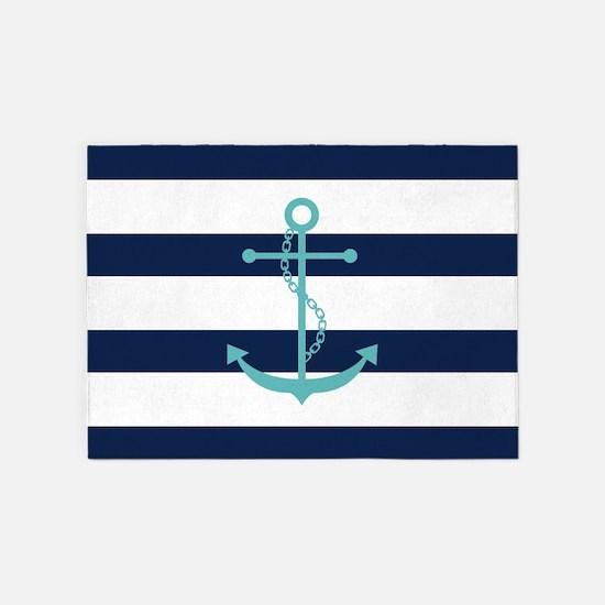 Teal Anchor on Blue Stripes 5'x7'Area Rug