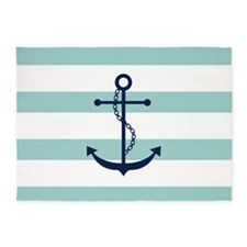 Blue Anchor on Mint Stripes 5'x7'Area Rug