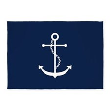 Navy Blue Anchor 5'x7'Area Rug