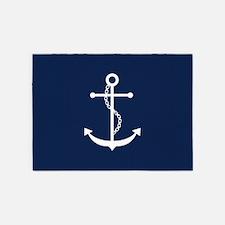 Navy Blue Anchor 5'x7'Area Rug