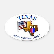 Army National Guard - TEXAS w Flag Oval Car Magnet