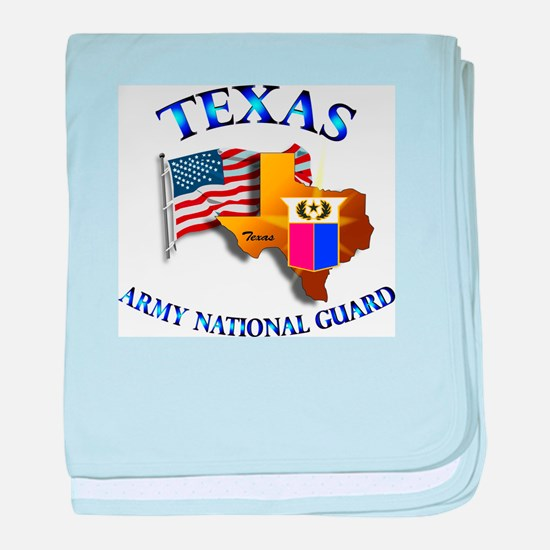 Army National Guard - TEXAS w Flag baby blanket