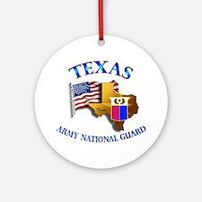 Army National Guard - TEXAS w Flag Ornament (Round