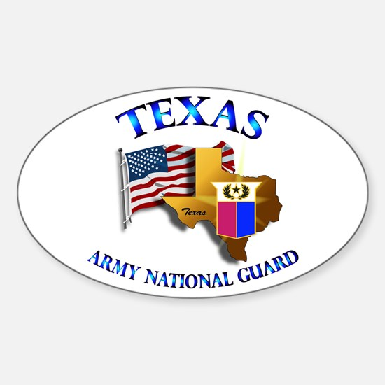 Army National Guard - TEXAS w Flag Sticker (Oval)