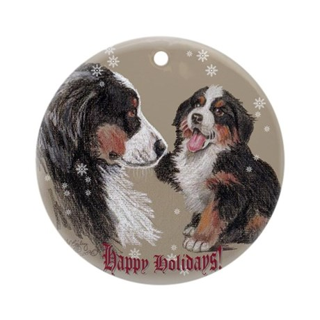 "Bernese Mt. Dog ""Happy Holidays"" Ornament (Round)"