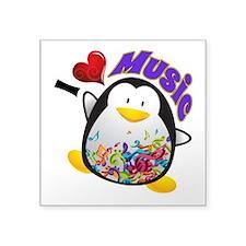 "Music Penguin Square Sticker 3"" x 3"""