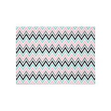 Pink Mint Gray Ikat Zigzag 5'x7'Area Rug