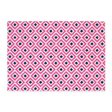 Pink And Navy Blue Ikat Diamonds 5 X7 Area Rug By