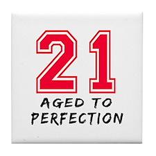21 year birthday designs Tile Coaster
