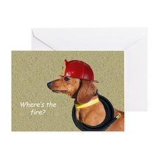 Dachshund Fireman Birthday Card by Focus for a Cau