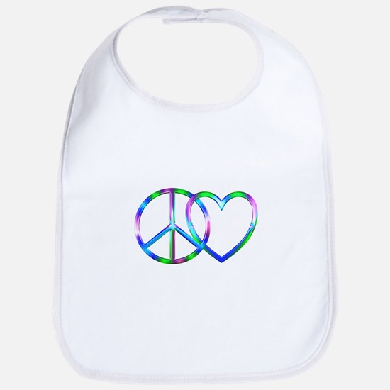 Shiny Peace Love Cotton Baby Bib