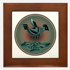 Mimbres Teal Quail Framed Tile