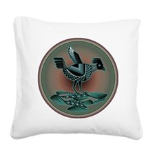 Mimbres Teal Quail Square Canvas Pillow