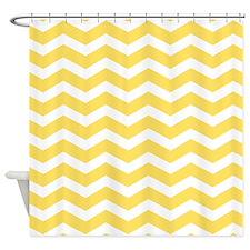 Yellow and white Chevron Shower Curtain