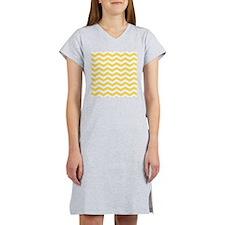 Yellow and white Chevron Women's Nightshirt