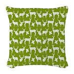 Deer on Green Woven Throw Pillow