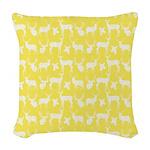Deer on Yellow Woven Throw Pillow