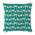 Deer on Teal Woven Throw Pillow